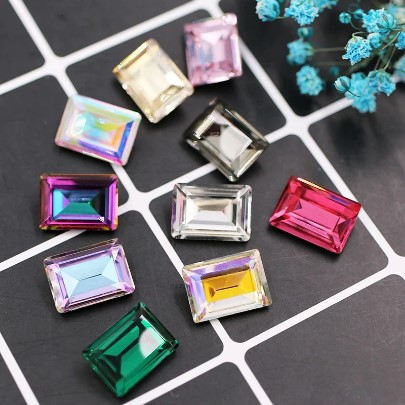 Rectangle Pointback Crystals 10 x 14 mm